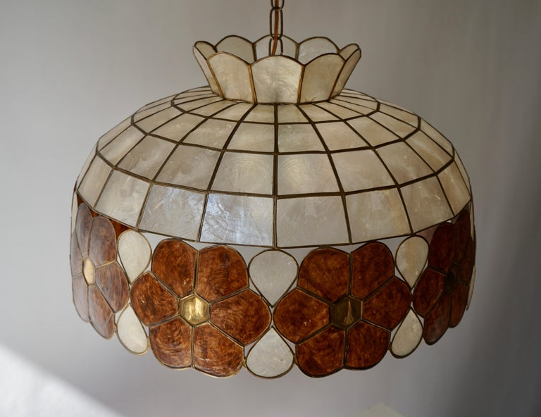 Capiz Shell and Brass Floral Themed Pendant Light For Sale 8
