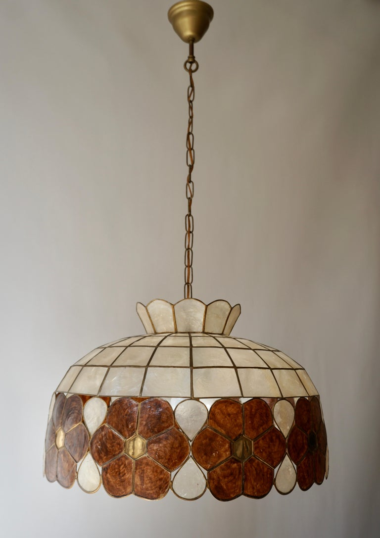 Capiz Shell and Brass Floral Themed Pendant Light For Sale 9