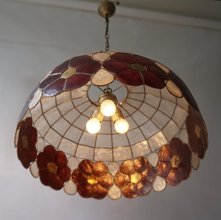 Italian Capiz Shell and Brass Floral Themed Pendant Light For Sale