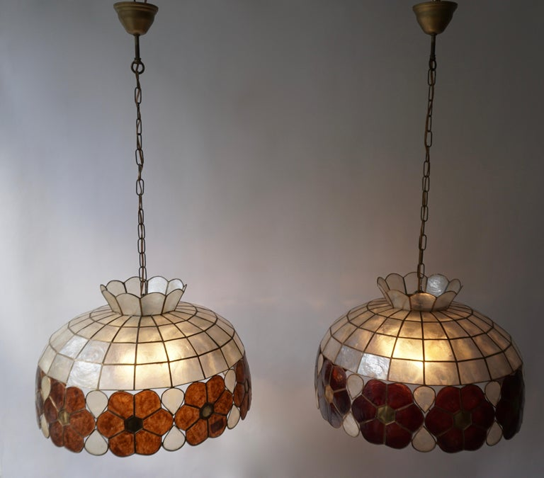 Capiz Shell and Brass Floral Themed Pendant Light In Good Condition For Sale In Antwerp, BE