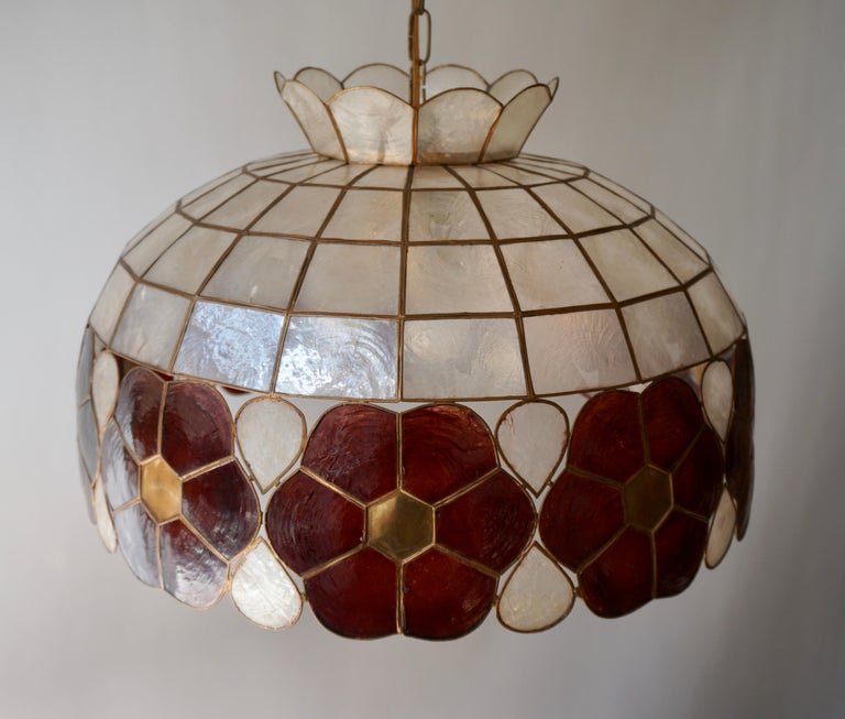 20th Century Capiz Shell and Brass Floral Themed Pendant Light For Sale