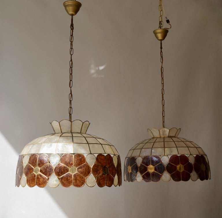 Capiz Shell and Brass Floral Themed Pendant Light For Sale 2