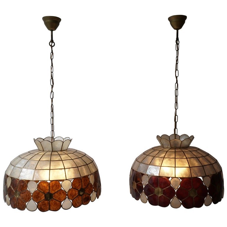 Capiz Shell and Brass Floral Themed Pendant Light For Sale