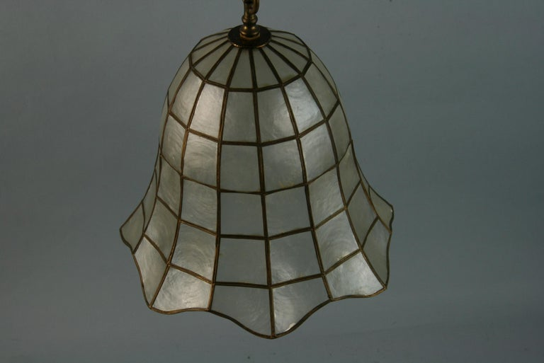 Capiz Shell Bell Pendant In Good Condition For Sale In Douglas Manor, NY