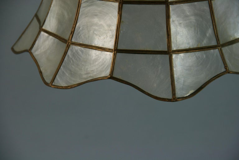 Mid-20th Century Capiz Shell Bell Pendant For Sale