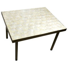 Capiz Shell Table with Squared Brass Legs