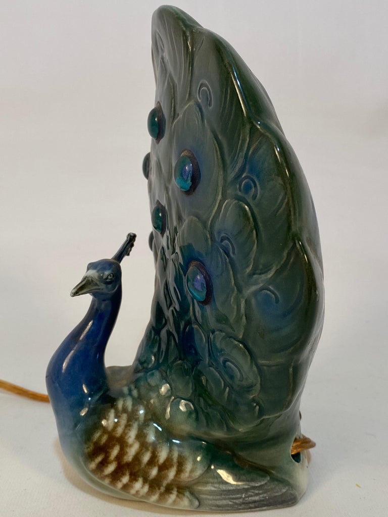 Mid-20th Century Capodimonte Jeweled Porcelain Peacock Lamp For Sale