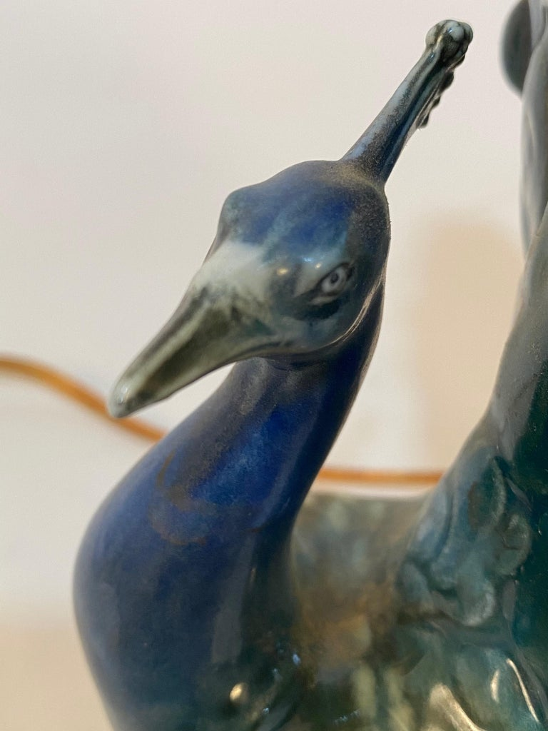Capodimonte Jeweled Porcelain Peacock Lamp For Sale 3