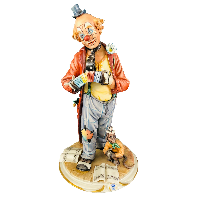Capodimonte Medea by Rori Porcelain Clown and Monkey statuette or Sculpture