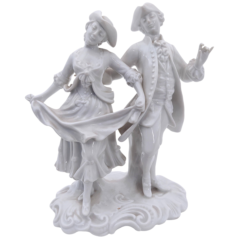 Vintage Capodimonte Porcelain Decorative Statue by Ginori, Rococo Style, Italy