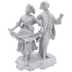 Capodimonte Porcelain Decorative Statue by Ginori, Rococo Style, Italy, 1960s