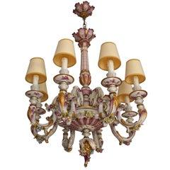 Capodimonte Porcelain Eight-Light Chandelier Italy