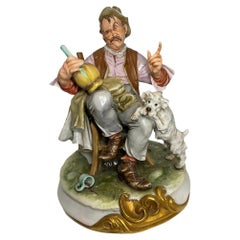 Capodimonte Porcelain Sculpture of a Drunk Man and His Dog