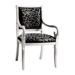 Capotavola Black and White Chair with Armrests