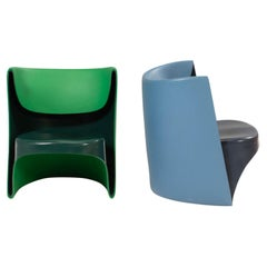 Cappellini by Ron Arad 'Nino Rota' Blue & Green Chairs, Set of 2