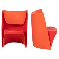 Cappellini by Ron Arad 'Nona Rota' Orange Chairs, Set of 2