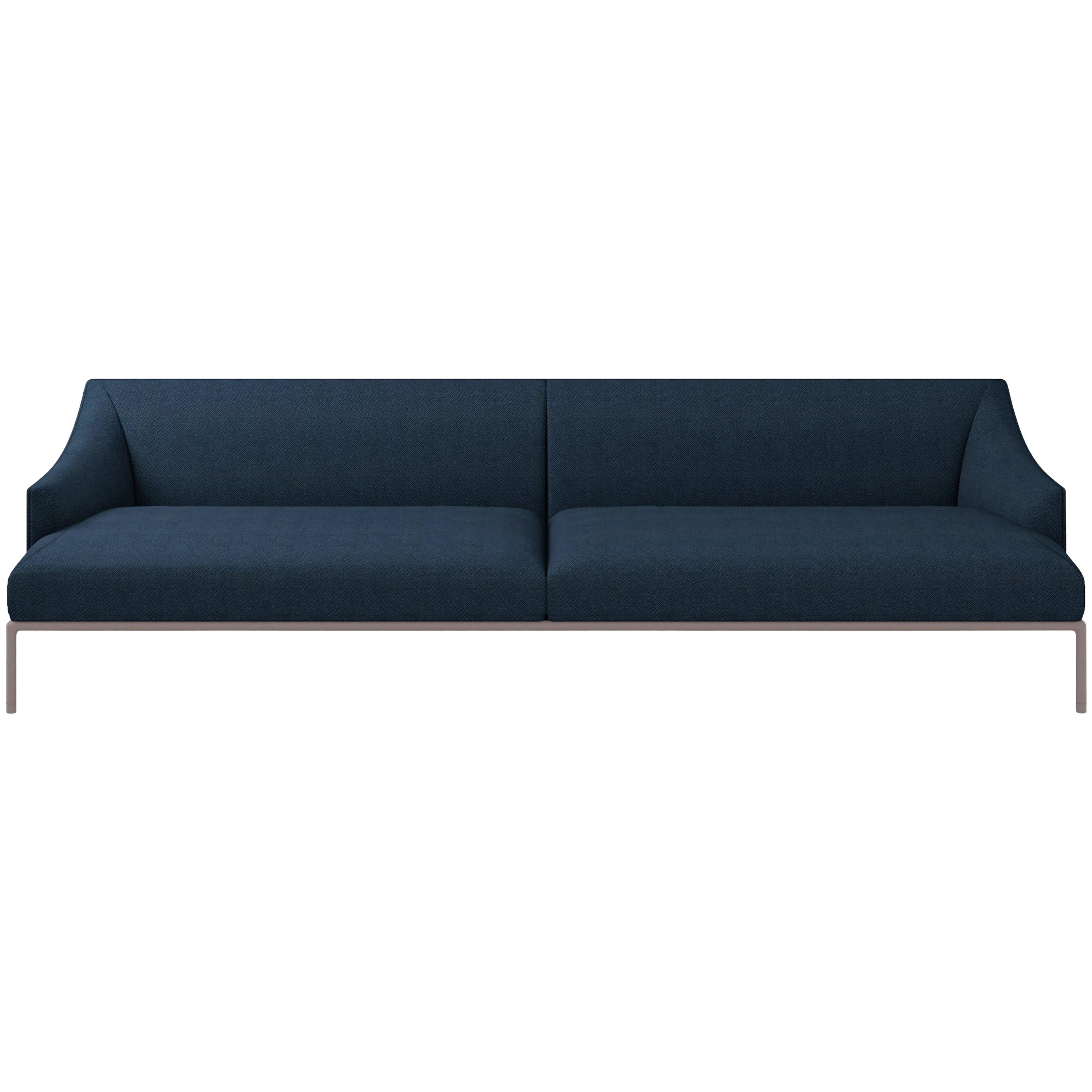 Cappellini High Time Three-Seat Sofa in Blue Hero Fabric by Christophe Pillet
