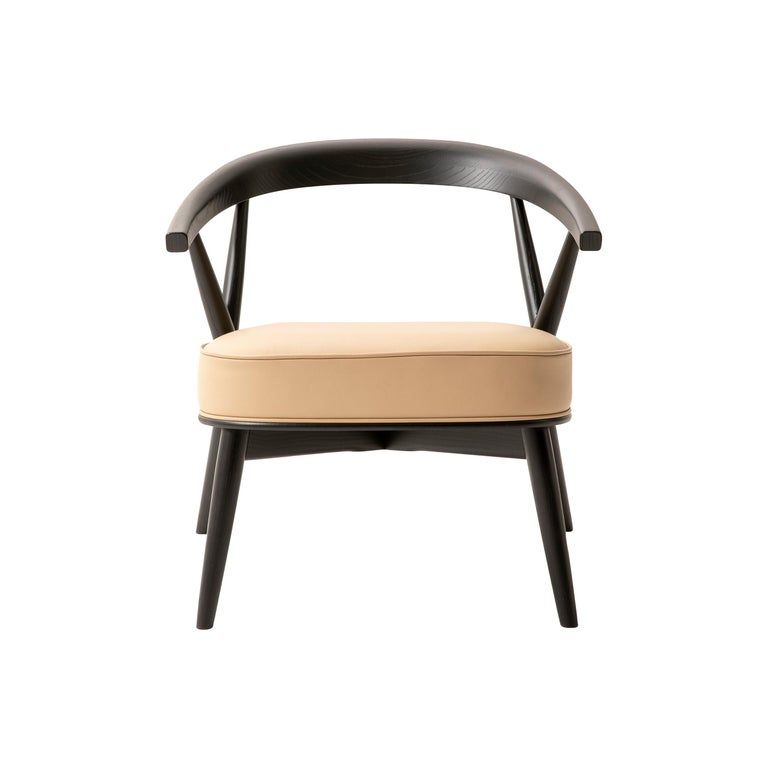 For Sale: Beige (Leather 914) Cappellini Newood Relax Light Armchair in Beech & Ashwood by Brogliato Traverso