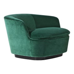 Cappellini Orla Swivel Armchair in Poplar and Fabric by Jasper Morrison