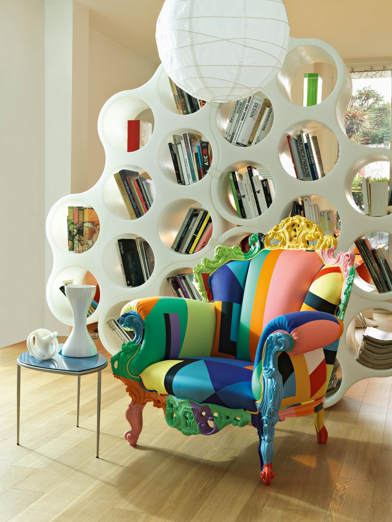 A further evolution of the icon created by Alessandro Mendini in 1978 for the Palazzo dei Diamanti in Ferrara, the Proust Geometrica armchair incorporates the heritage of the original in this revised Technicolor version.