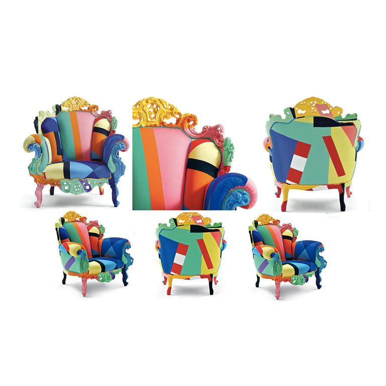 Modern Alessandro Mendini Proust Geometrica Armchair in Multi-Color Fabric, Cappellini For Sale