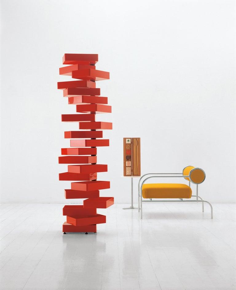 Modern Shiro Kuramata Revolving Cabinet in Red Polish Acrylic Plastic for Cappellini For Sale