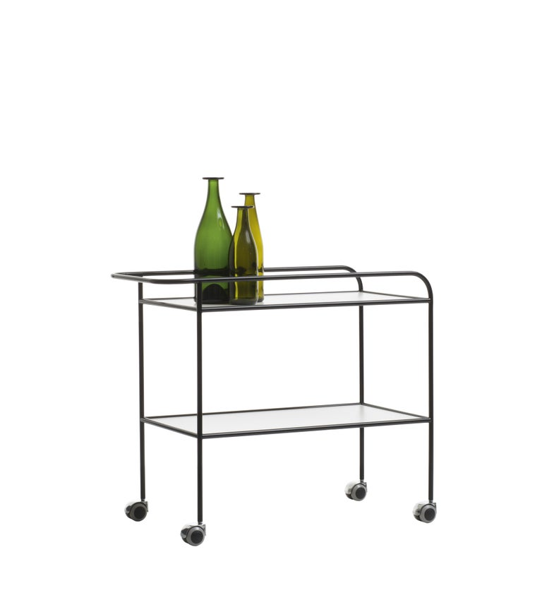 Originally designed in 1968, the steel pipe drink trolley, by Shiro Kuramata, is still strikingly contemporary, a reflection of the research in which form and function are immediately evident, but contradistinguished by the refined aesthetics of the