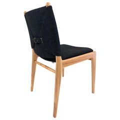 Cappio Dining Chair in Chinaberry Finish with Charcoal Fabric Seat and Back