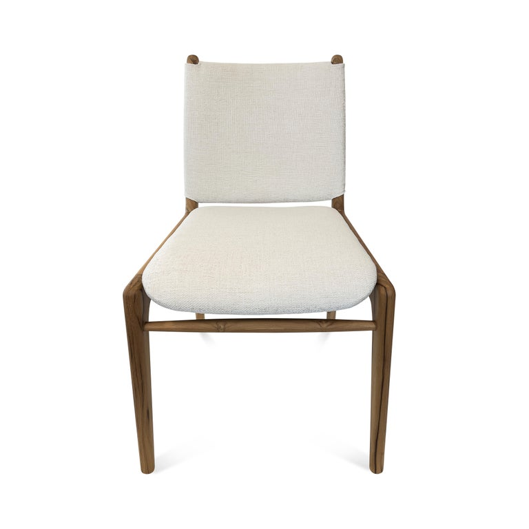 Brazilian Cappio Dining Chair in Teak Finish with Light Fabric Seat and Seat Back For Sale