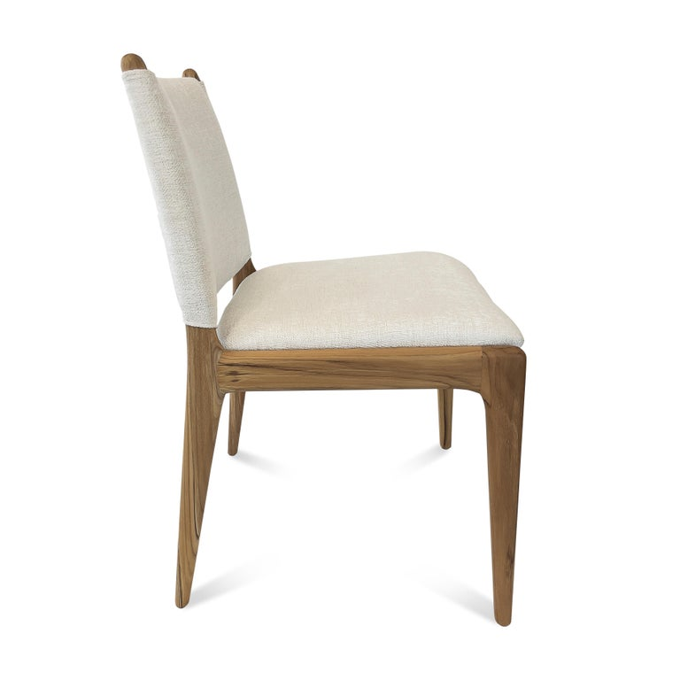 Contemporary Cappio Dining Chair in Teak Finish with Light Fabric Seat and Seat Back For Sale