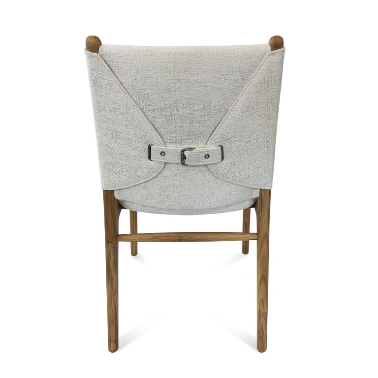 Upholstery Cappio Dining Chair in Teak Finish with Light Fabric Seat and Seat Back For Sale