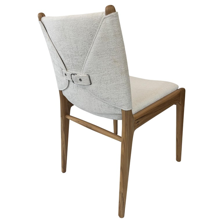 Cappio Dining Chair in Teak Finish with Light Fabric Seat and Seat Back For Sale