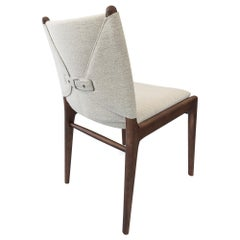 Cappio Dining Chair in Walnut Finish with Light Fabric Seat and Seat Back