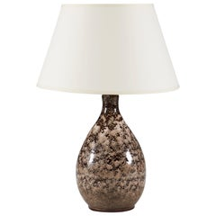 Cappuccino Glaze Studio Pottery Table Lamp, Mid-20th Century Brown and Cream