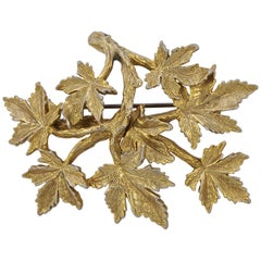 Capri Gold Plated Leaves Statement Brooch