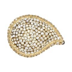 Capri Golden Paisley Pin Brooch with Clear Pave Crystals, 1960s
