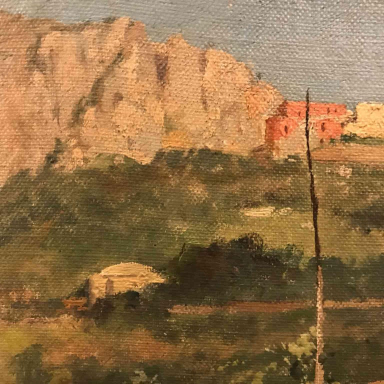 Hand-Painted Capri Italy 19th Century Italian Countryside Landscape by Alceste Campriani For Sale