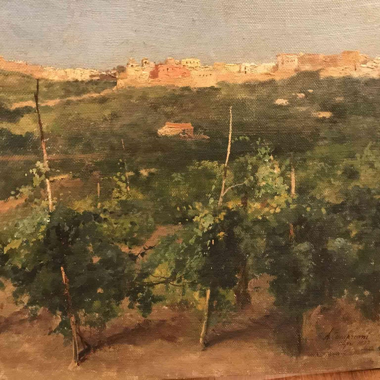 Capri Italy 19th Century Italian Countryside Landscape by Alceste Campriani In Good Condition For Sale In Milan, IT
