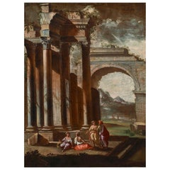 Capriccio, Carlieri 18th Century Oil on Canvas Architectural Capriccio Painting