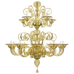 Capriccio Chandelier with 15 Lights in Smoky Quartz Murano Glass by Multiforme