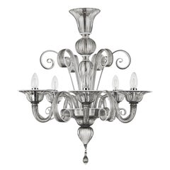 Capriccio Chandelier 5 Lights Grey Murano Glass with White Details by Multiforme