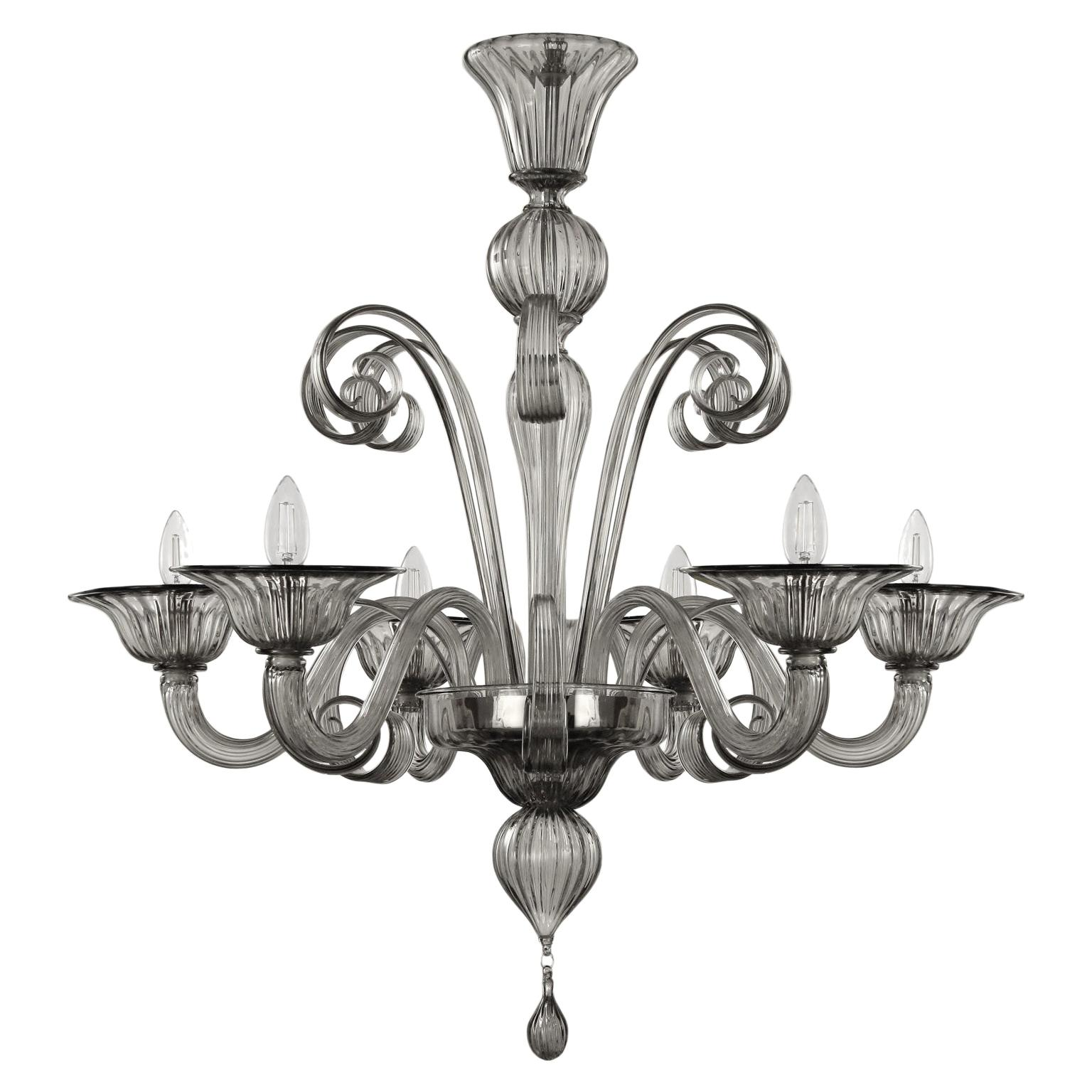 Chandelier 6 arms grey handblown artistic Murano Glass by Multiforme