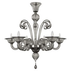 Capriccio Chandelier, 6 Lights, Smoky Quartz Artistic Glass by Multiforme