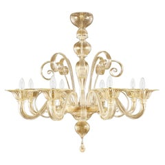 Chandelier 8 arms blown artistic Murano gold Glass Capriccio by Multiforme