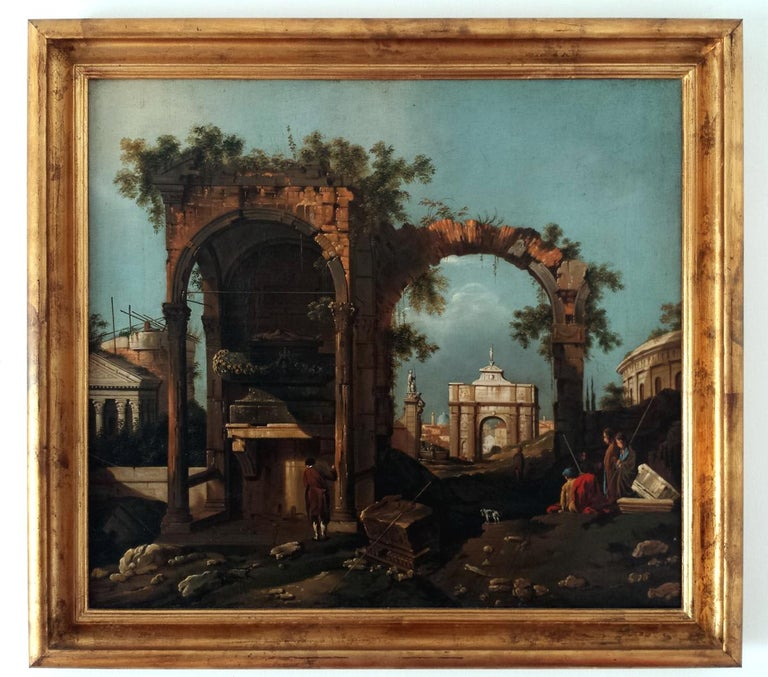 Classical Greek Capriccio with Ruins For Sale