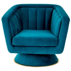 Caprice Swivel Armchair in Blue Velvet