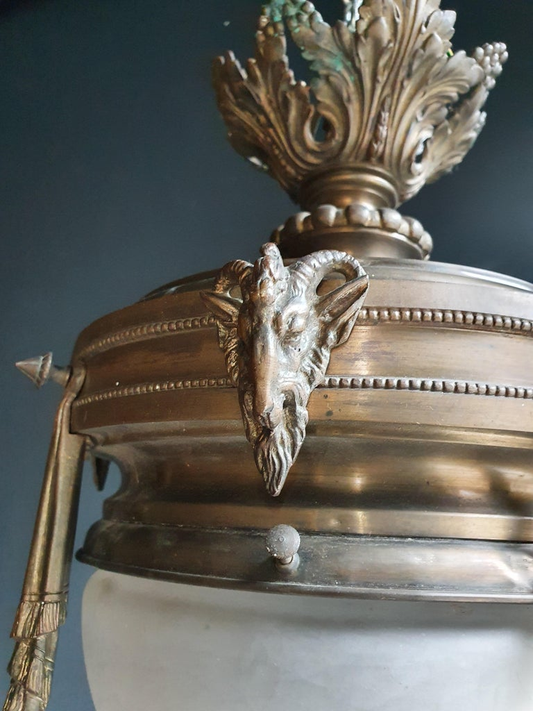 German Capricorn Antique Art Nouveau Brass Chandelier Lustre Ceiling Lamp Rarity For Sale