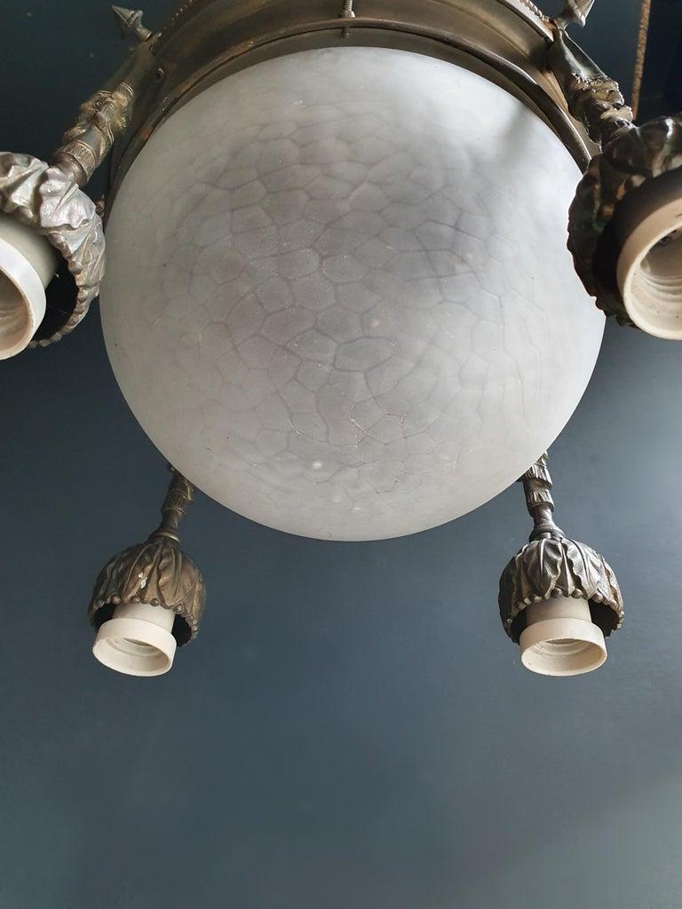 Capricorn Antique Art Nouveau Brass Chandelier Lustre Ceiling Lamp Rarity In Good Condition For Sale In Berlin, DE
