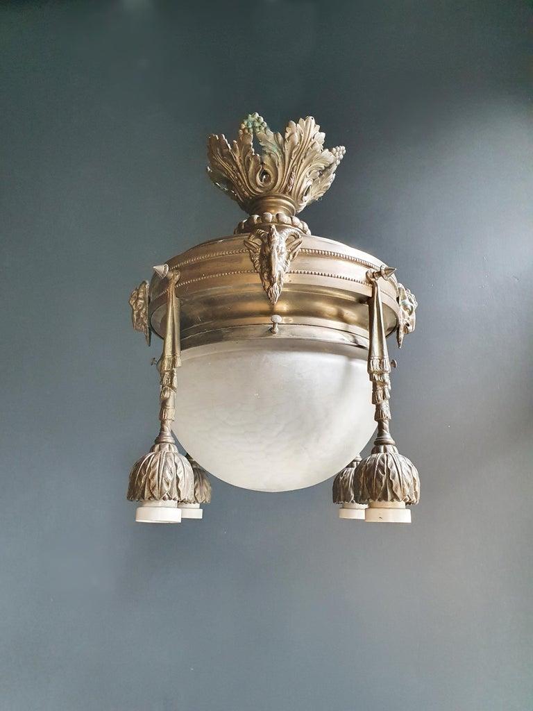 Mid-20th Century Capricorn Antique Art Nouveau Brass Chandelier Lustre Ceiling Lamp Rarity For Sale