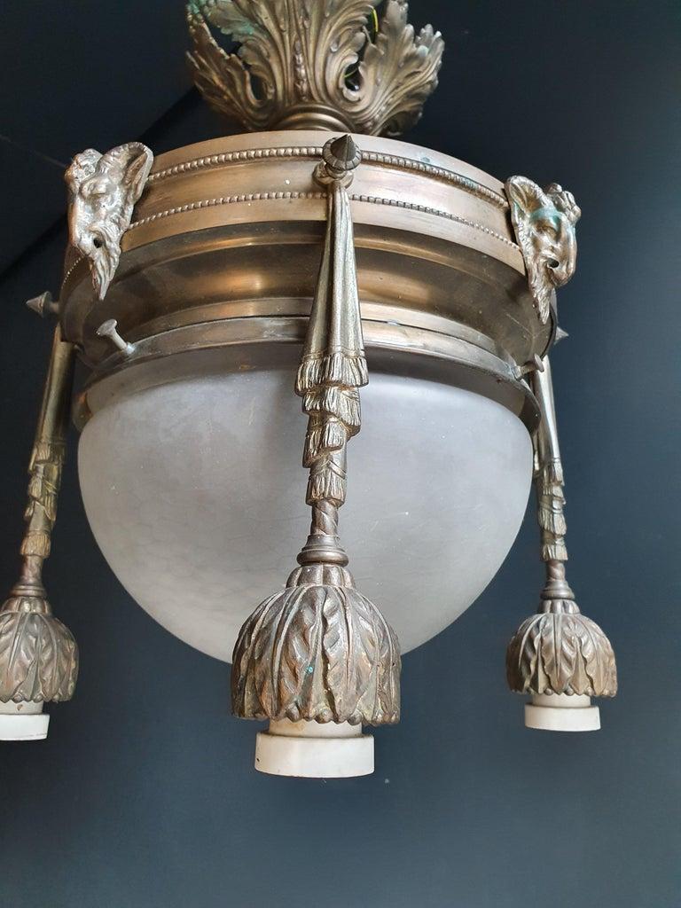 Capricorn Antique Art Nouveau Brass Chandelier Lustre Ceiling Lamp Rarity For Sale 1